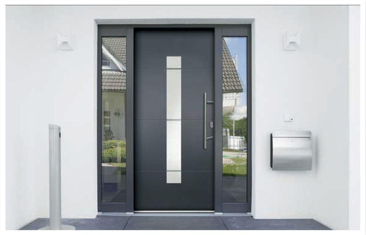 Schwarz-graue Haustür Aluminium