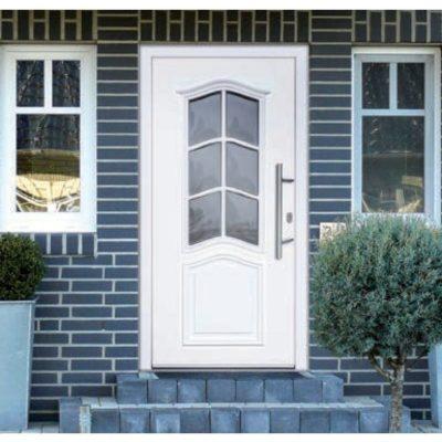 Haustür Aluminium Weiß mit Fensteroptik